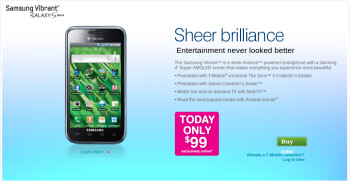 T-Mobile offers the Samsung Vibrant for $99 - today only!