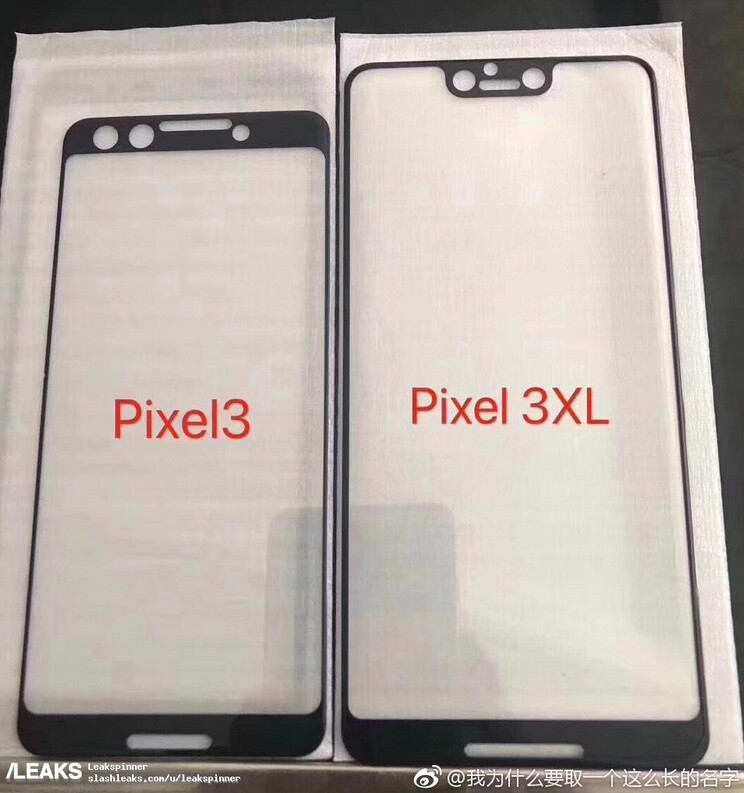 Screen protectors allegedly made for the Pixel 3 and Pixel 3 XL leak - Google Pixel 3 XL will sport a notch according to leaked photo of screen protectors