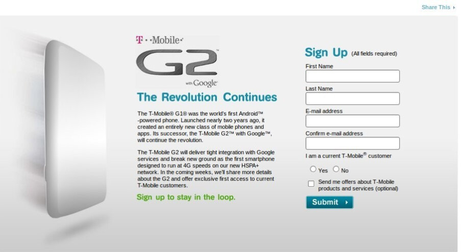 G2 officially the first HSPA+ device on T-Mobile