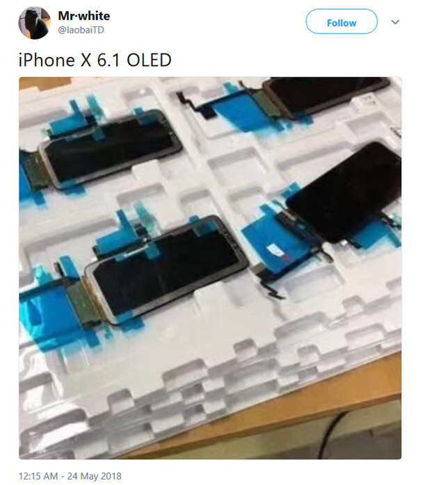 According to this tweet, seconded by a report in the Economic Times, Apple will use an OLED panel on the 6.1-inch iPhone 9 - Report: Apple has decided to use OLED on all three 2018 iPhone models