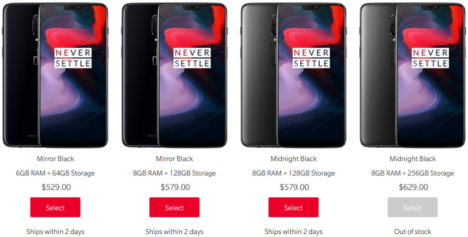 OnePlus 6 256 GB is now out of stock in the US