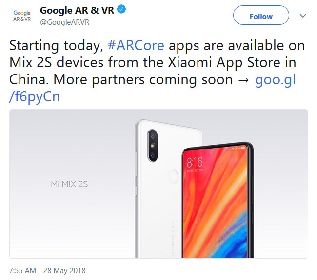 Google announces that the Xiaomi Mi Mix 2S now supports ARCore apps - ARCore apps are now available for the Xiaomi Mi Mix 2S in China