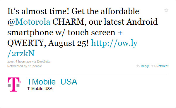 T-Mobile to launch Motorola Charm on August 25th