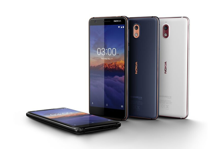 The Nokia 3.1 in Black, Blue, and White - Nokia 5.1, Nokia 3.1, and Nokia 2.1 are announced: the purest of Android at an affordable price