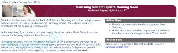 """T-Mobile says that the GPS fix for the Samsung Vibrant is """"coming soon"""""""