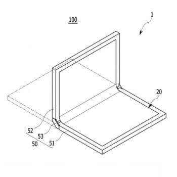 Three possible designs for a foldable device with a foldable display