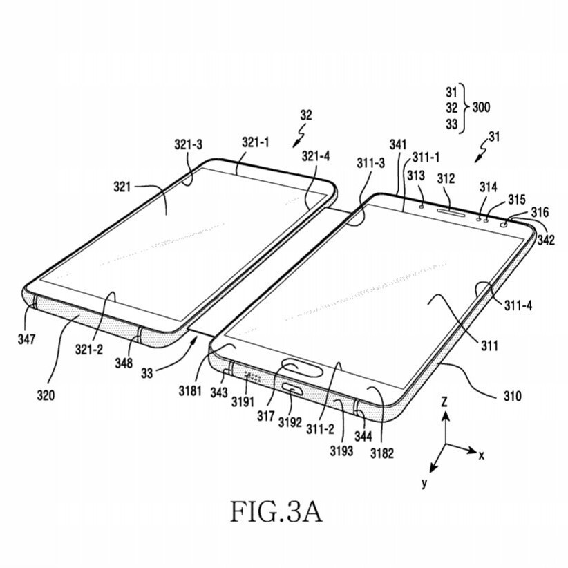 Two Samsung patents for a foldable device. Note that the screens themselves do not fold here. A third display may be on the outside of these devices - The Samsung Galaxy X foldable phone may be an amazing disappointment