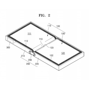 Two Samsung patents for a foldable device. Note that the screens themselves do not fold here. A third display may be on the outside of these devices