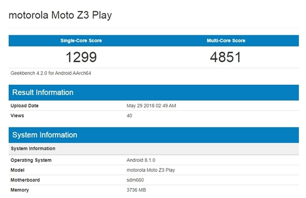 The Moto Z3 Play has shown up on Geekbench with a Snapdragon 660