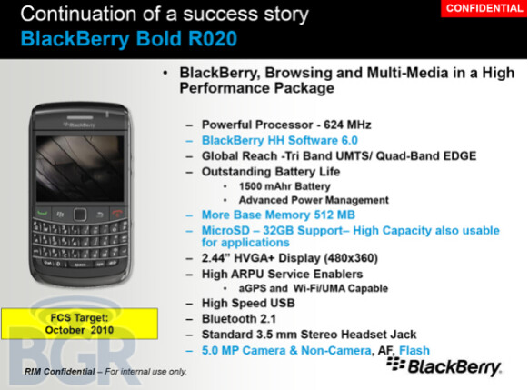 Leaked photos show off BlackBerry Bold R020 and 9670 Oxford flip