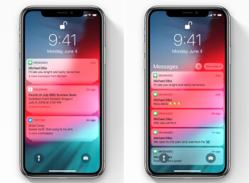 Notifications in iOS 12 – grouped on the left and expanded on the right