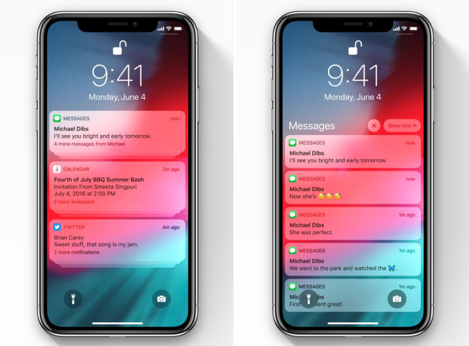 Notifications in iOS 12 – grouped on the left and expanded on the right - iOS 12 is announced with focus on performance and augmented reality