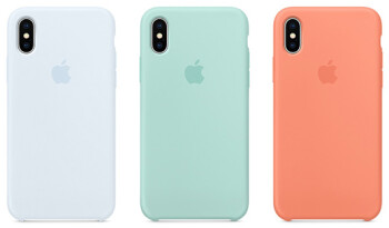 The three new color options added to the lineup of silicone cases for the 2017 iPhone models, (L to R) Sky Blue, Marine Green and Peach