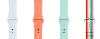 The four new Apple Watch Sport Bands now available, (L to R) Sky Blue, Peach, Marine Green and the new Pride band