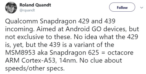 Qualcomm Snapdragon 429 and 439 could be on the way, aimed at Android Go devices