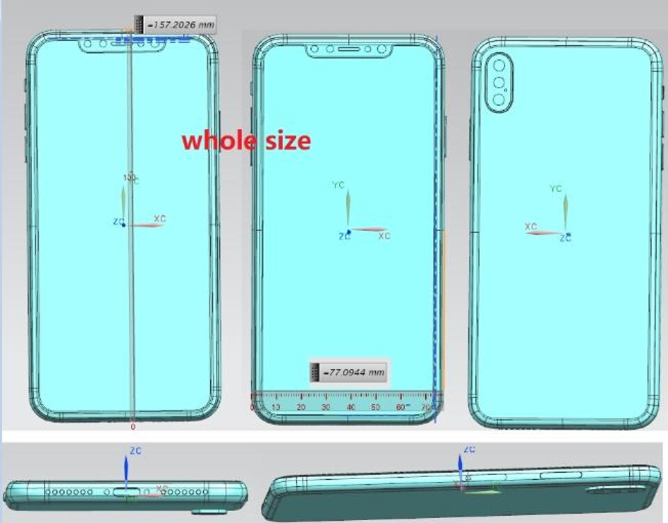 Leaked schematics for the 6.5-inch 2018 iPhone