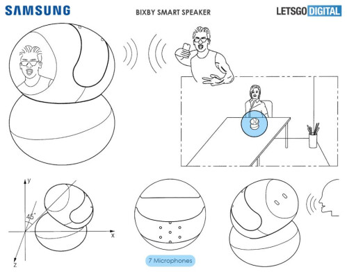 Rotating Samsung Bixby smart speaker