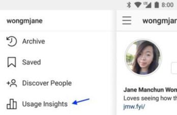 The User Insights link is expected to be found on a menu accessed on the member's profile page