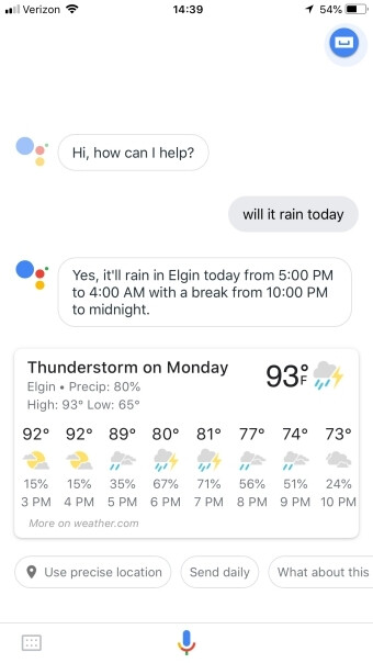 'Hey Google, will it rain today?' now gives you more details