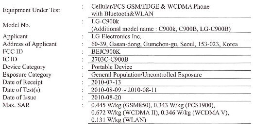 Windows Phone 7 powered LG C900 pops it head up over at the FCC