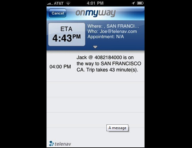 """OnMyWay for the iPhone - TeleNav """"OnMyWay"""" app sends out alerts when you're running late"""