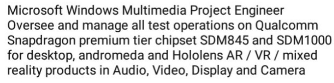 Job description posted on LinkedIn by a Qualcomm employee - Microsoft to use Windows 10-focused Snapdragon 1000 chip for foldable Surface Phone?