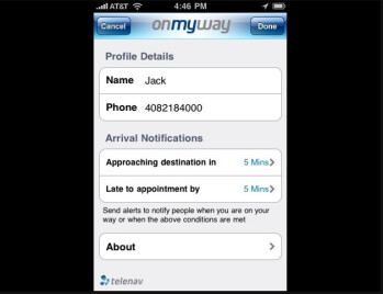 OnMyWay for the iPhone