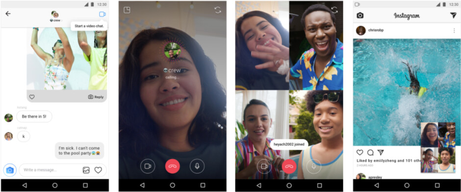 Video chats can expand to as many as four members, and can be minimized to allow for multitasking - Instagram update rolls out today with video chat, Explore topic channels and more