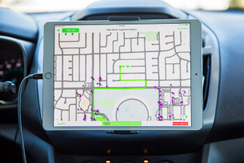 Data collected from the Apple Maps van is sent to an iPad inside the vehicle, running special software