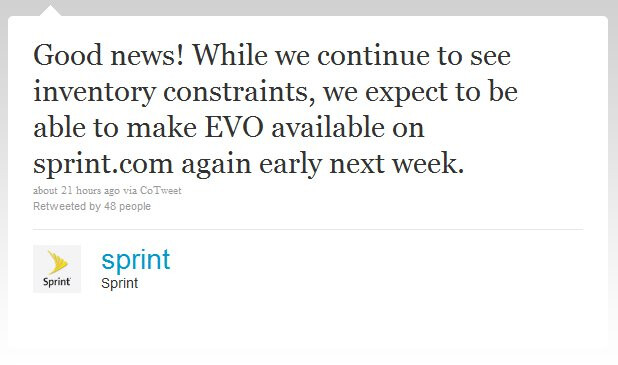 HTC EVO 4G is expected to become available through Sprint's site next week