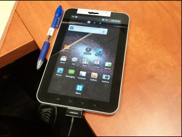 Photographs courtesy of Engadget - Samsung Galaxy Tab CDMA version snapped