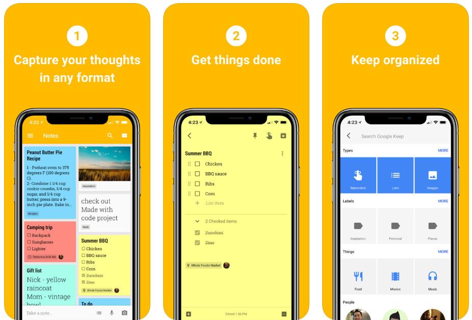 Google Keep - Best iPhone apps (2020)