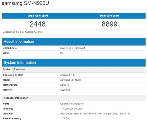 Note 9 Exynos 9810 and Snapdragon 845 version benchmarks
