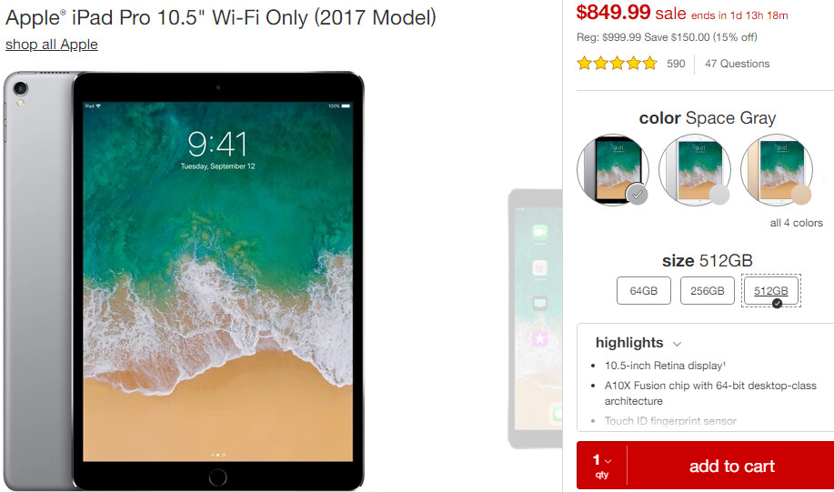 Deal: Save $130 on the Apple iPad Pro 10.5 512GB (limited time offer)