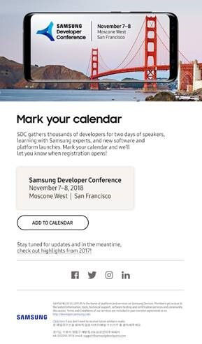 Samsung sets the date for its 2018 Developer Conference