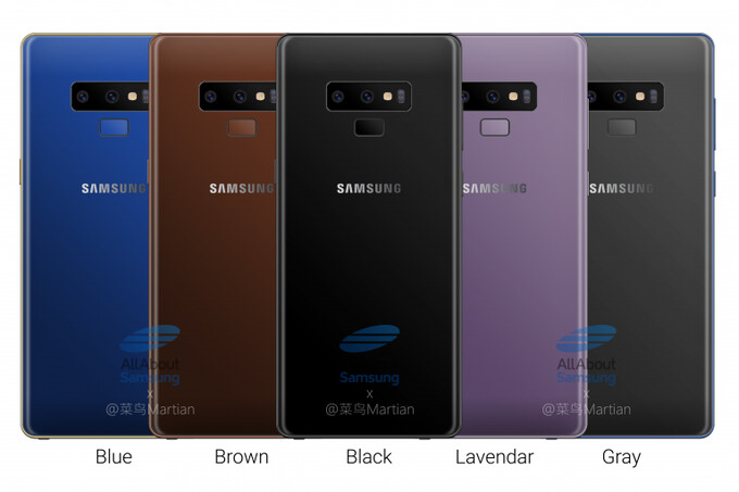 Allegedly, these are all the colors the Note 9 will come in - Alleged Galaxy Note 9 official picture leaves little to the imagination