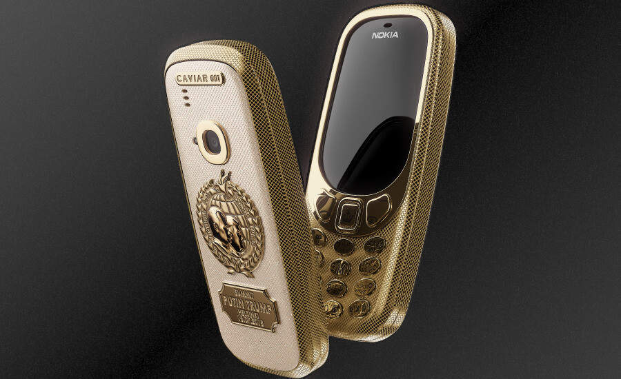 Cool or not? You decide - Garish Nokia 3310 made of titanium and 24K gold commemorates the historical Trump-Putin summit