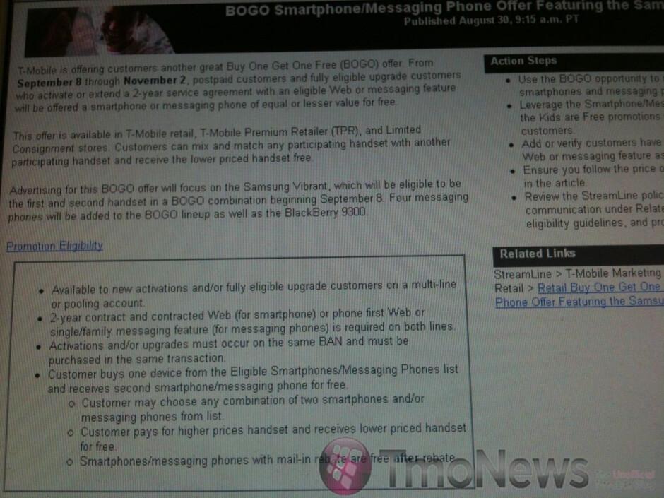 T-Mobile's latest BOGO campaign will also include the Samsung Vibrant?