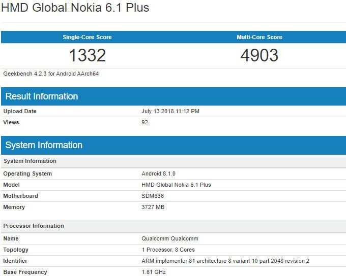 Nokia 6.1 Plus benchmark listing reveals mid-range hardware, Android 8.1.0 Oreo