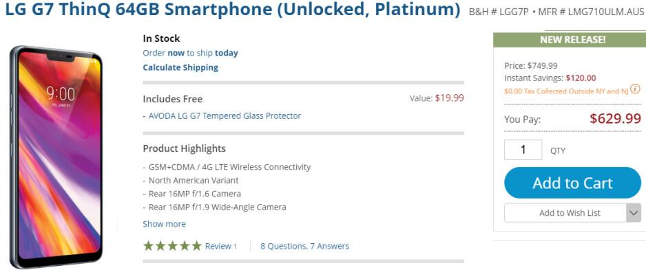 Deal: Unlocked LG G7 ThinQ is already $120 cheaper