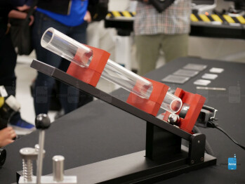 One of the many apparatuses used at Corning's testing facility to gather data about glass.