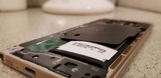 The battery on a Samsung Galaxy Note 7 that was still being used by its owner as recently as a month ago, shows signs of swelling - Those still using the Samsung Galaxy Note 7 could have a ticking time bomb