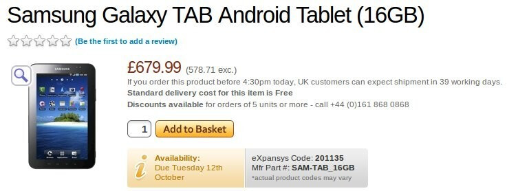 Samsung Galaxy Tab might cost more than you hoped for