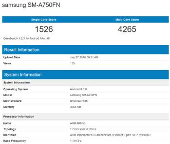 image یک دستگاه میانرده سامسونگ در گیکبنچ رویت شد: شاید نسخه ۲۰۱۸ گلکسی A7 در راه باشد!