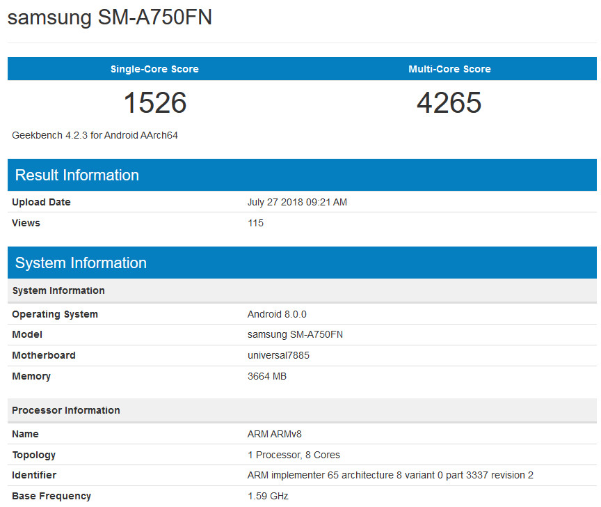 The Geekbench listing of the Galaxy A8 (2018) - Samsung mid-ranger pops up on Geekbench, is this the Galaxy A7 (2018)?