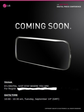 LG sending out invitations for an LG Optimus press event on September 14th