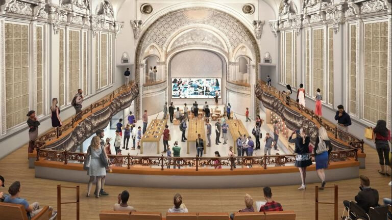 Apple's vision of what the inside of its new L.A. Apple Store will look like - Apple plans to convert an iconic L.A. theater into the grandest of Apple Stores