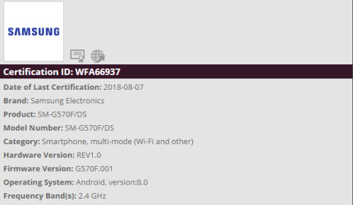 Wi-Fi Alliance certifications for Galaxy J5 Prime and Galaxy Xcover 4