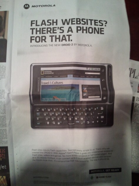 Snap! Motorola lays out Apple once again with full page shot at the iPhone