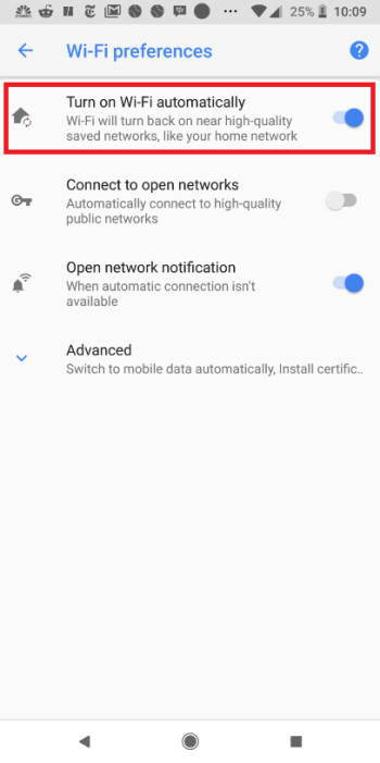 Pixel 2 XL on Oreo has the Turn on Wi-Fi automatically feature